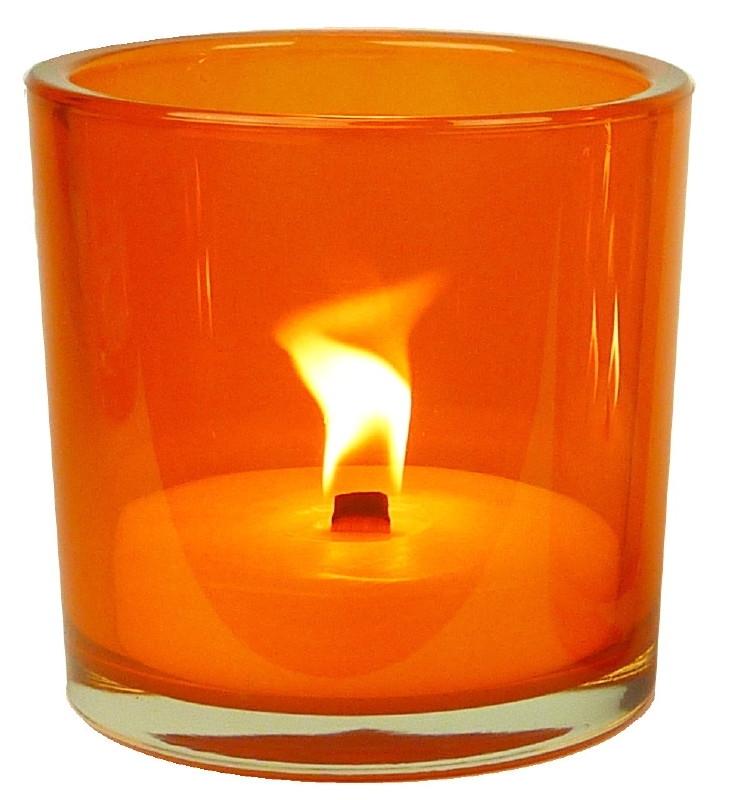 XL Glas oranje inclusief kaars vulling indoor