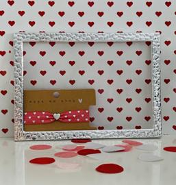 Armbandje elastisch lint hearts Rouge pink-silver