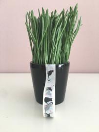 Masking tape wit met zwarte poezen.