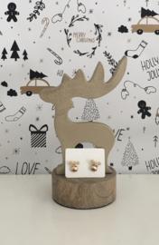 Kerst oorbellen Rudolph goudkleurig