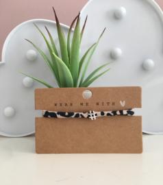 Armbandje elastisch lint Leopard beige-black