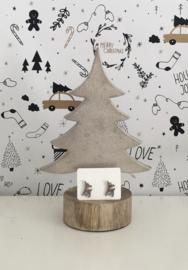 Kerst oorbellen hert zilverkleurig