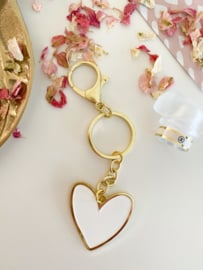 Sleutelhanger | Een hartje van goud | Wit
