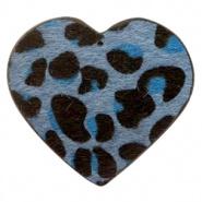 Sleutelhanger hart met leopard print dark blue