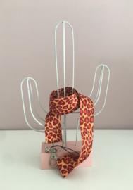 Keycord met dierenprint oranje/rood
