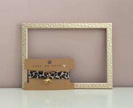 Armbandje elastisch lint Leopard Peach Beige