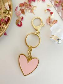 Sleutelhanger | Een hartje van goud | Roze