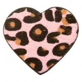 Sleutelhanger met hart in leopard print PINK