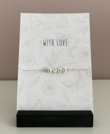"Sieradenkaart ""With love""en armbandje met tekst letters love"