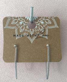 Oorbellen Dot Chain Long Silver