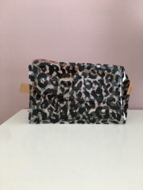 Make-up tas leopard transparant black
