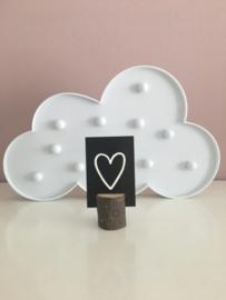 Kadolabel/Minikaartje zwart met wit hartje