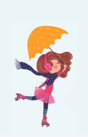 Kaart   Skate girl, umbrella