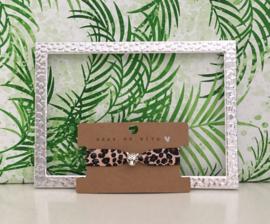 Armbandje elastische lint leopard met panter schuiver