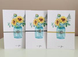 Enkelbandjes elastisch met een zonnebloem en een tekstkaart