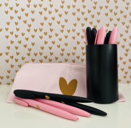 Pen | Pink/Black/White & a Golden Heart