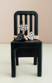 Mini knijpers | hartjes zwart/wit