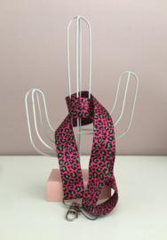 Keycord met dierenprint roze/fel groen