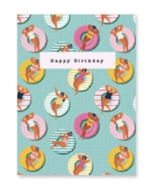 "Sieraden kaartje ""happy birthday"" Turquoise-pink"