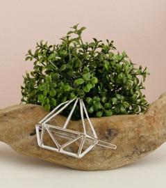 Haarspeld geometrische driehoek zilverkleurig