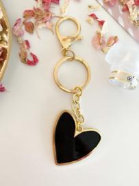 Sleutelhanger | Een hartje van goud | Zwart