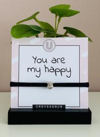 Armbandje elastisch lint met uil | Met tekstkaart You are my happy