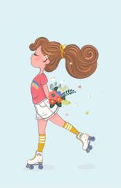 Kaart   Skate girl, flowers