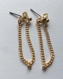 Oorbellen Dot Chain Long Gold