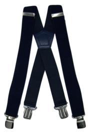 Donkerblauwe Heavy Duty Bretels met 4 extra sterke stalen clips