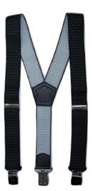 Zwart met Witte Stip motief Bretels met de sterkste stalen clips