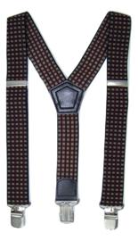 Dubbel Ruit Zwart Rood Wit motief Bretels met de sterkste stalen clips