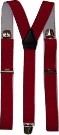 XXL Rode bretels met extra sterke brede clips (3 clips)