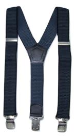 Zwart/Grijs gegolfde  Bretels met de sterkste stalen clips