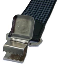 Bretels met ruit motief zwart grijs met brede clip