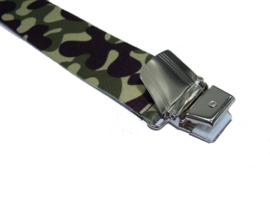 Camouflage Legergroen Bretels met extra sterke clips