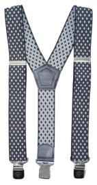 Bretels met ruit motief zwart wit met brede clip