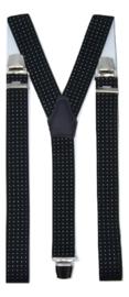 Zwarte Bretels met Witte Stip en extra sterke clips