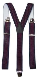 Donkerblauw kleurige Bretels met witte stip en rode streep en extra sterke clips