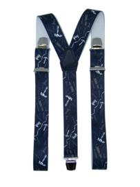 Bretels Timmerman (donkerblauw) met extra sterke clips