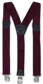 Bordeauxrode Bretels met de sterkste stalen clips
