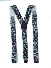 Camouflage Grijs Bretels met extra sterke clips