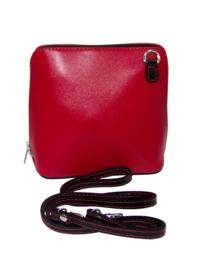 Rood met zwarte details Vera Pelle Italiaans leren schoudertasje (rits rondom)