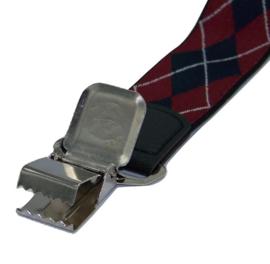 Blauw/Rood/Wit ruit motief Bretels met de sterkste stalen clips