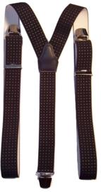 Donkerblauwe Bretels met witte stip en extra sterke clips