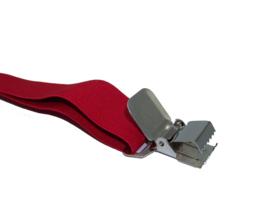 Rode Heavy Duty Bretels met 4 extra sterke stalen clips