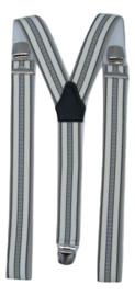 Cremé/Blauw breed gestreepte Bretels met extra sterke clips