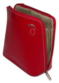 Rood Vera Pelle Italiaans leren schoudertasje (rits rondom)