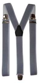 XXL Lichtblauwe bretels met donkerblauwe streep en extra sterke brede clips