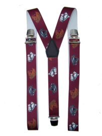 Bretels Paarden Bordeauxrood met extra sterke clips