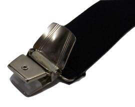 XXL Zwarte bretels met extra sterke brede clips (3 clips)
